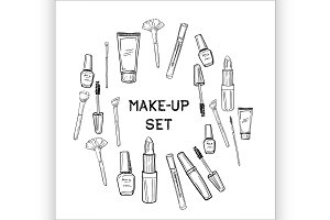 Beauty and makeup icons set