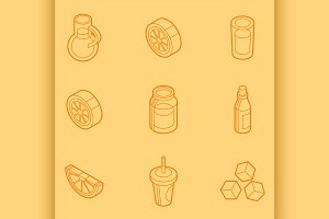 Lemonade outline isometric set