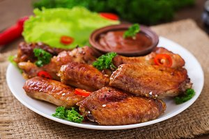 Sour-sweet baked chicken wings