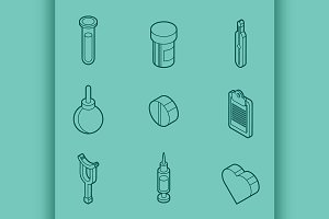 Medical outline isometric set