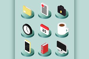 Office flat isometric icons