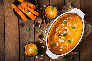 Cottage cheese and pumpkin pudding