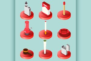 Smoking flat isometric set