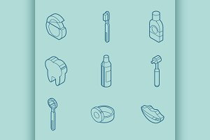 Stomatology outline isometric set