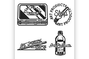Vintage art products shop emblems