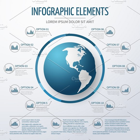 Earth globe 3D infographic template