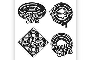 Vintage donuts store emblems