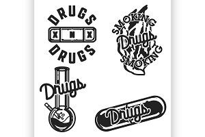 Color vintage drugs emblems