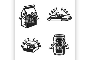 Vintage fast food emblems