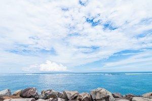 Indian ocean landscape, tropical island Bali, Indonesia.