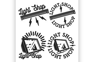 Vintage light shop emblems