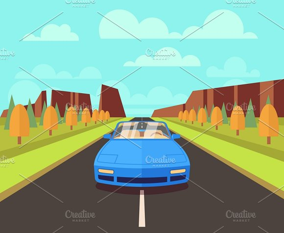 Car On Road With Outdoor Landscape