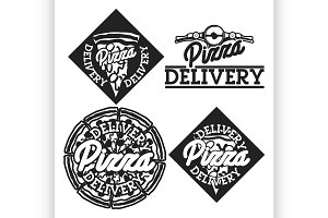 Vintage pizza delivery emblems