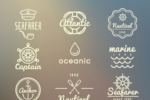 Vintage marine labels vector set