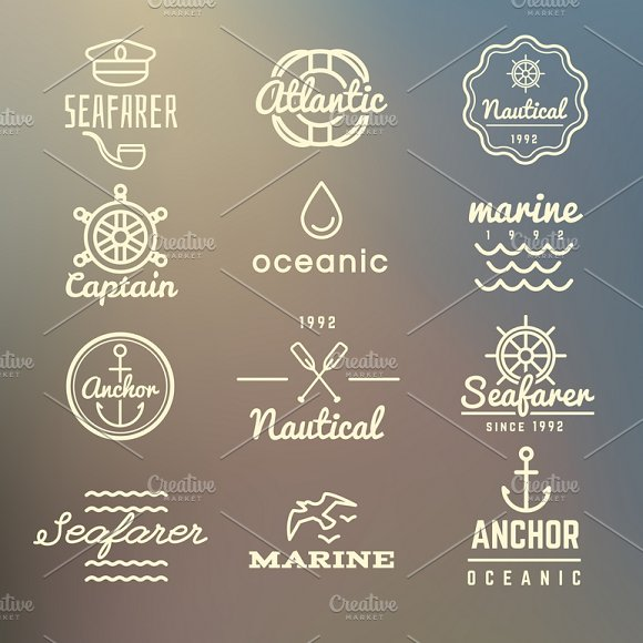 Vintage Marine Labels Vector Set