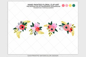 Hand Painted Flower Clip Art
