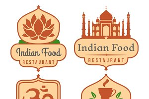 Indian food vector logo set
