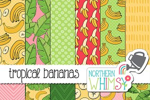 Tropical Banana Seamless Patterns