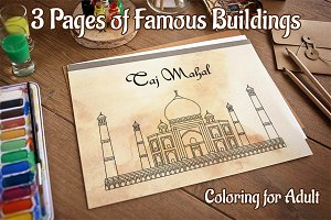 Coloring Pages with Indian Temples
