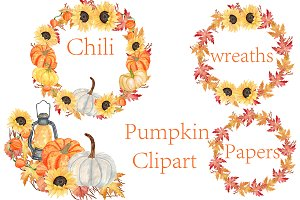 Pumpkin Watercolor Wreaths Clipart