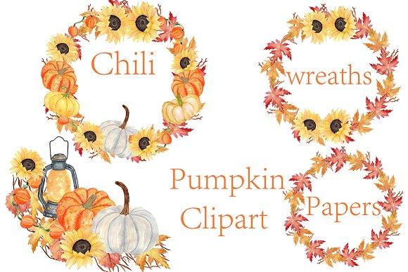Pumpkin Watercolor Wreaths Clipart