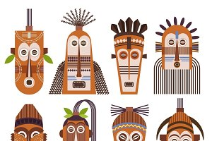 African ethnic tribal masks