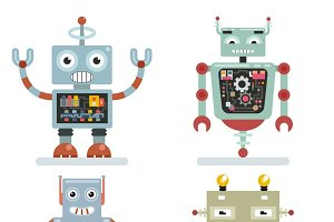 Robots pictograms vector
