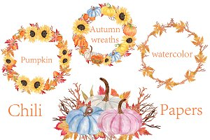 Watercolor Pumpkin Wreaths Clipart
