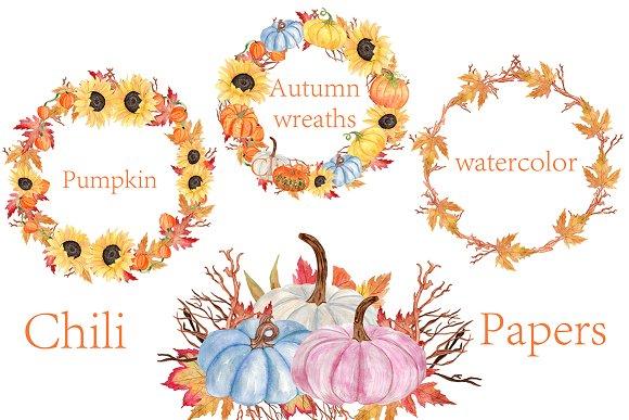 Watercolor Pumpkin Wreaths Clipart