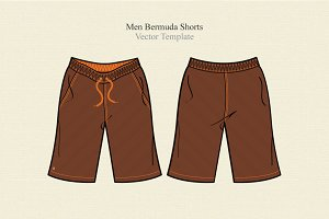 Men Bermuda Shorts Template