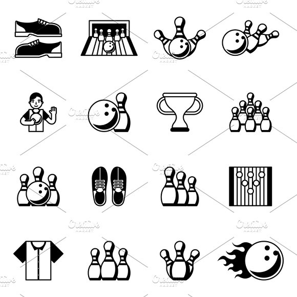 Bowling black icons in Graphics