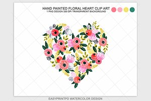Watercolor Floral Heart Clip Art