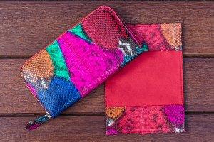 Woman clutch purse. Luxury handmade snakeskin python wallet. Women's accessories. Fashionable style.