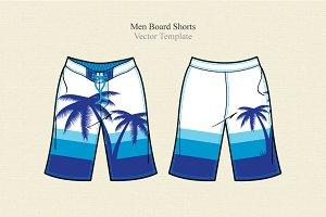 Men Board Shorts Vector Template