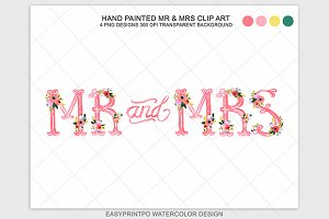 Wedding Mr and Mrs Clip Art Graphic