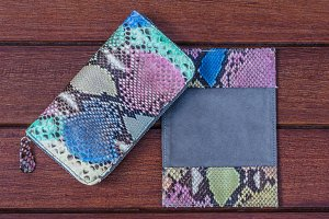 Woman clutch purse. Luxury handmade snakeskin python wallet. Women's accessories. Fashionable style.