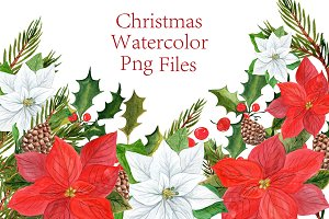Watercolor Poinsettias clipart