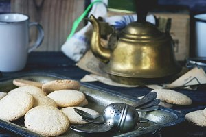 Almond cookies served with vintage t