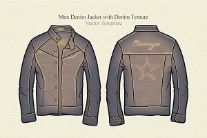 Men Denim Jacket with Denim Texture