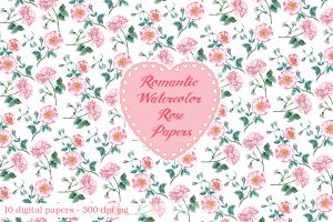 Romantic Watercolor Rose Paper