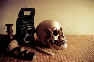 Still Life with a Skull and camera