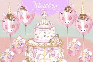 Unicorn Party Cart Clipart Images