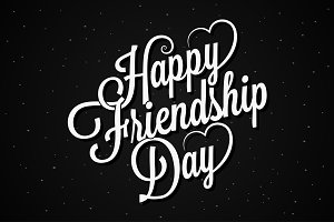 friendship day lettering vintage