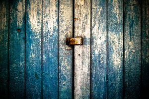 Vintage wooden door and key locker