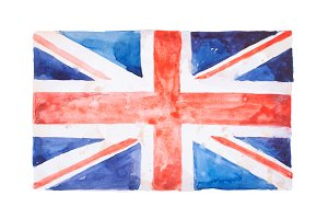 British flag. United Kingdom. Watercolour hand drawn illustration.