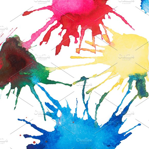 Colorful Retro Vintage Abstract Watercolour Aquarelle Paint