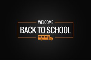 back to school line logo background