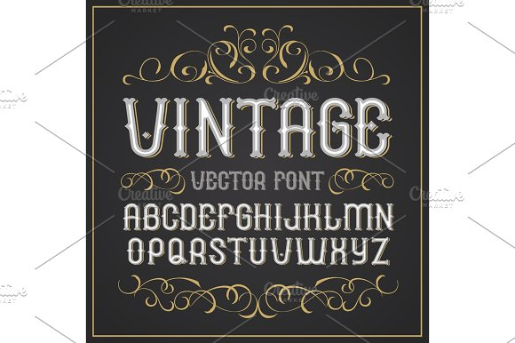 Vector Vintage Label Font Retro Font