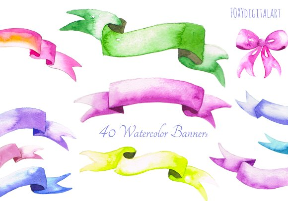 Watercolor Banners Clipart CL56