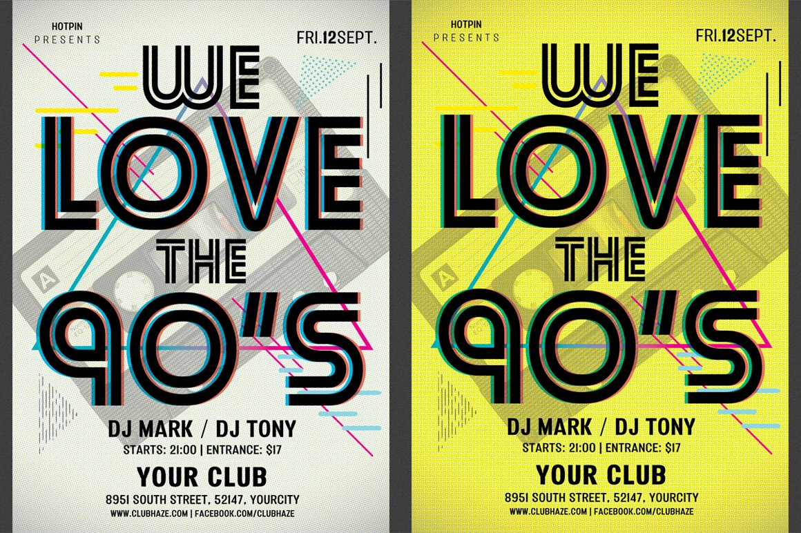 90s retro party flyer template flyer templates for Poster template 90 x 120cm